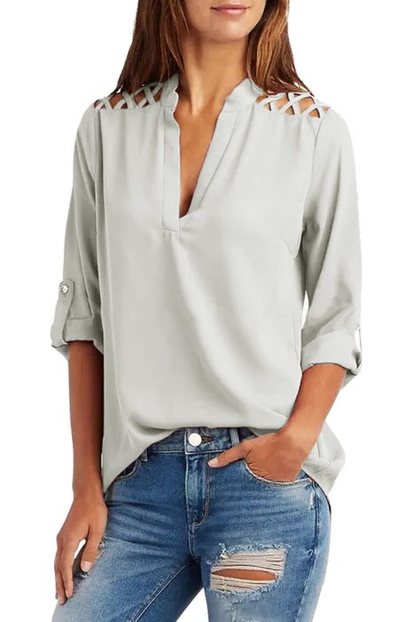 Z| Chicoth Grey Crisscross Shoulder Detail Roll Tab Blouse-Chicloth