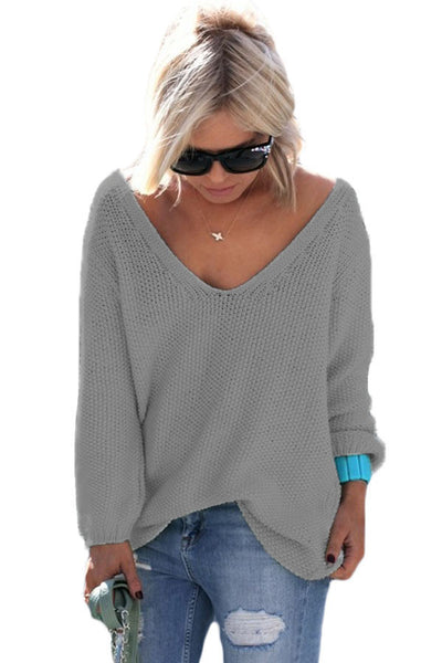 Chicloth Grey Knitted Long Sleeve Plunge Jumper