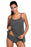 A| Chicloth Grey Lace Overlay Spaghetti Straps Tankini Swimsuit-Tankinis-Chicloth