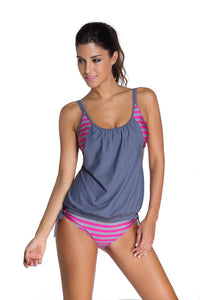 Chicloth Grey Layered-Style Striped Tankini with Triangular Briefs
