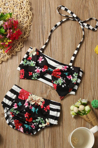 A| Chicloth Striped Floral Kids Girl Swimsuit Two Pieces Children Girls Swimwear