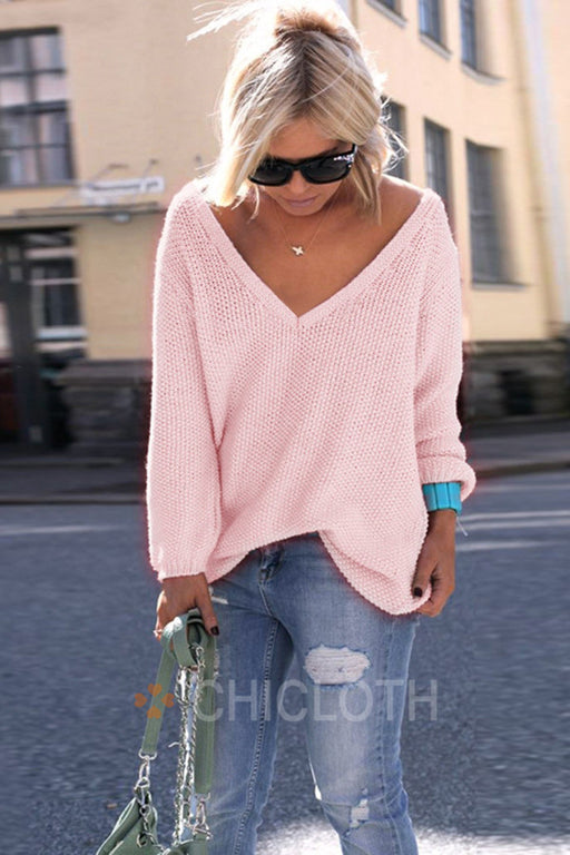 Chicloth 2019 New Plus Size Autumn Knitting Casual Sweater