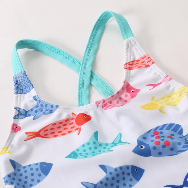 A| Chicloth Children One Piece Girls Fish-shaped Printing Swimwear Kids Swimsuit-Chicloth