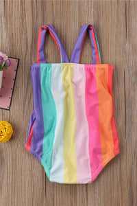 A| Chicloth Girls One Piece Swimsuit Rainbow Halter Bowknot High Waist Holes Beachwear-Chicloth