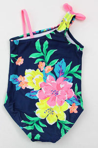 A| Chicloth One Piece Baby Swimwear Girls Dark Blue with Flowers Pattern Bathing Suit-Chicloth