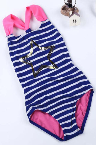 A| Chicloth Girls One Piece Striped Kids Swimsuit Children Girls Summer Bathing Suits-Chicloth