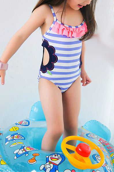 A| Chicloth Baby One Piece Girls Swimwear Light Blue Striped Hollowing Swimsuit-Chicloth
