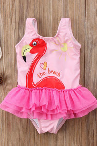A| Chicloth Kids Girl Tutu Swimwear New Baby Girl Animal Goose Printed Ruffle Swimsuit-Chicloth