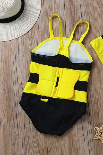 A| Chicloth Girls Bikini One Piece Children Swimwear Hat Little Bee Cute Beachwear