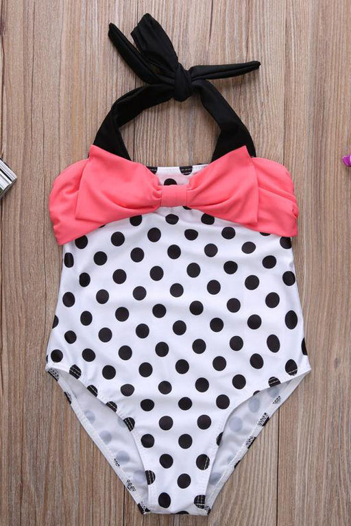A| Chicloth Girls Swimwear Mermaid Princess One Pieces Swimsuit Kids Dots Bathing Suit-Chicloth