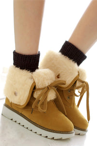 A| Women Winter Boots Suede Ankle Female Warm Fur Plush Insole Snow Boots-Boots-Chicloth