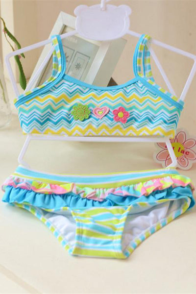 A| Chicloth Cute Children Swimsuit Girls Flower Bikini Two Pieces Girls Swimwear-Chicloth