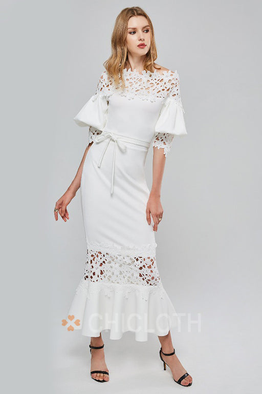 Chicloth Elegant White Lace Slash Neck Mermaid Dresses