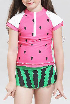 A| Chicloth Lovely Children Swimwear Kids Two Piece Swimsuit For Girls Watermelon-Chicloth