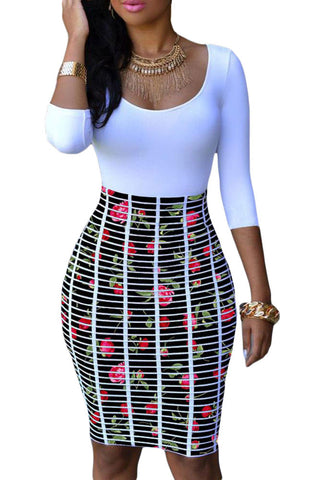 Chicloth Half Sleeve O Neck Rose Skirt Patchwork Bodycon Dress