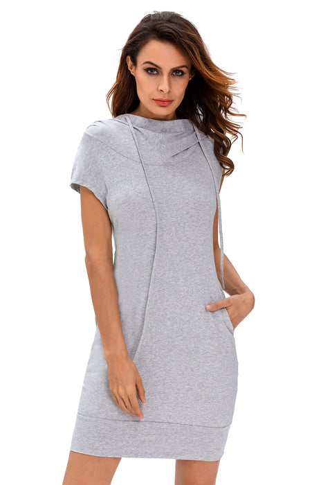 Chicloth Heather Grey Hooded Sweatshirt Dress-Mini Dresses-Chicloth