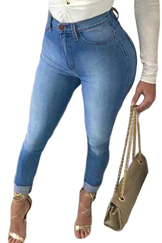 Z| Chicloth High Waist Bottom Ripped Hole Cut Jeans
