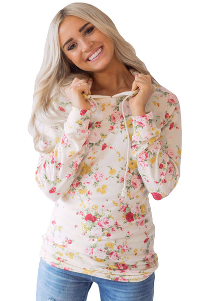 Chicloth Hooded Floral Sweatshirt with Drawstring