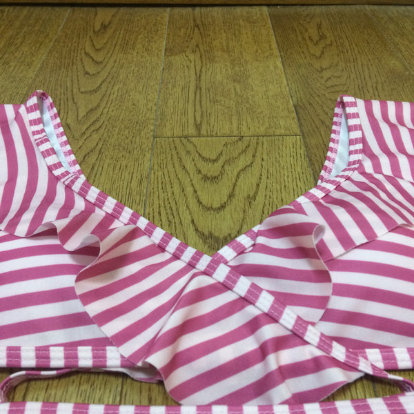 Chicloth Cute Pink Stripes bikini set-Minimal style-Chicloth