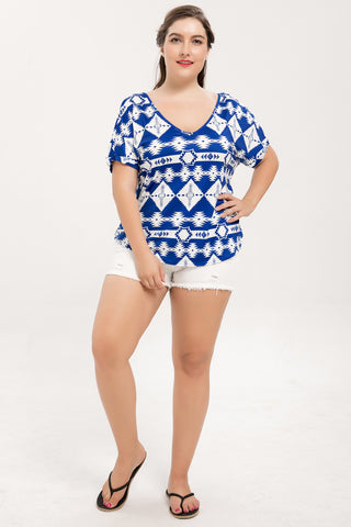 Chicloth V-Neck Bat Short Sleeve Geometric Patterns Plus Size Blouse-Blouse-Chicloth