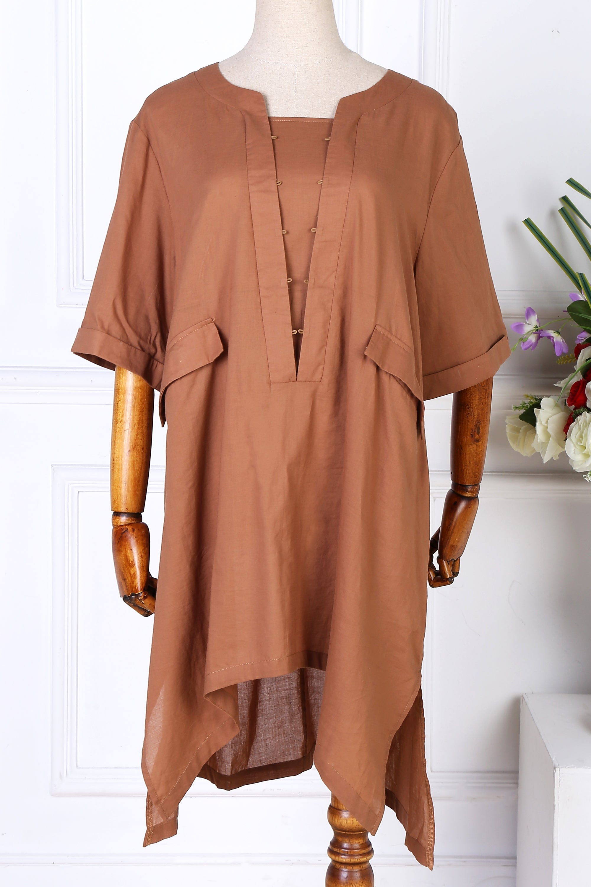 Chicloth Plus Size Loose Short Sleeve Blouse - L / Coffee