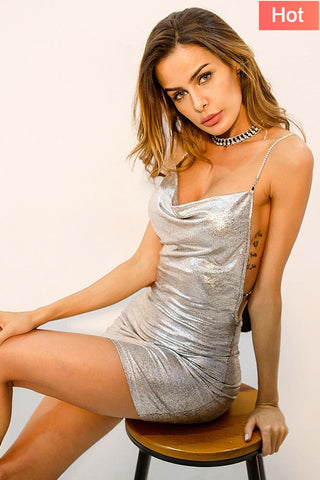A| Chicloth Spaghetti Sleeveless Silver Criss Cross Backless Sexy Mini Dress - Chicloth