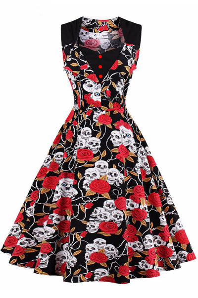 A| Chicloth Women's Vintage Sleeveless Dress 50s Style Polka Dot Party Dress-Vintage Dresses-Chicloth