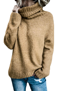 Chicloth Khaki Causal Knit High Neck Loose Sweater