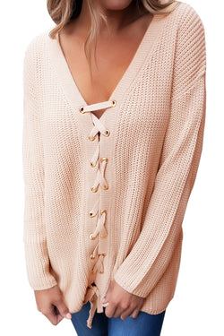 Chicloth Khaki Sexy V Neck Lace up Front Sweater