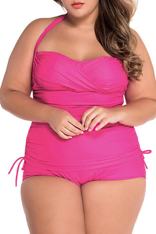 A| Chicloth Convertible Tie Ruched Plus Size Swimsuit-Chicloth