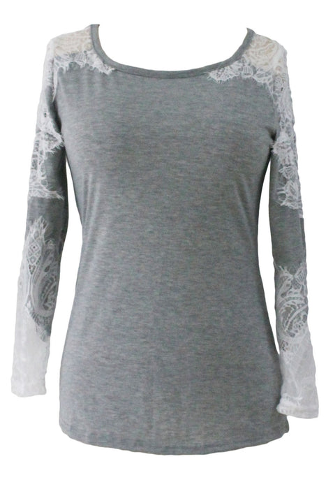 Chicloth Lace Cutout Patchwork Grey Long Sleeve Top-Blouse-Chicloth