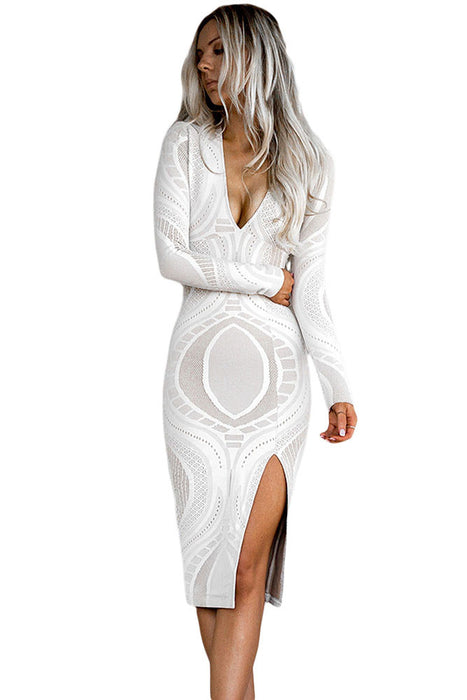 Chicloth Lace Long Sleeve Deep V Neck Midi Bodycon Dress-Chicloth