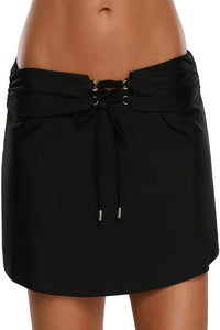 Z| Chicloth Lace Up O-ring Detail Black Active Skirted Swim Bottom