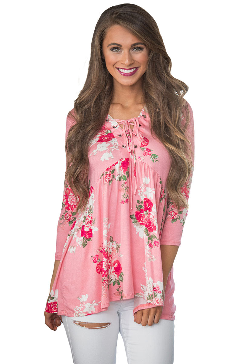 Chicloth Lace Up V Neck Pink Floral Blouse - XL / Pink