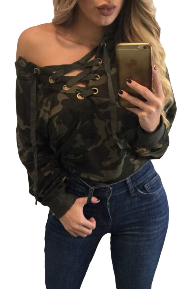 Chicloth Lace Up V-neck Camouflage Long Sleeve Top-Blouse-Chicloth