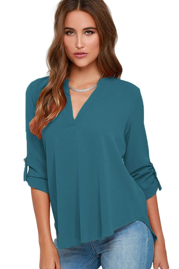 Chicloth Lake Green V Neck Loose Fitting Chiffon Blouse-Blouse-Chicloth
