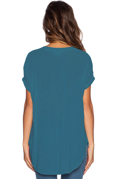 Chicloth Lake Green V Neck Short Sleeve Oversize Chiffon Blouse-Blouse-Chicloth