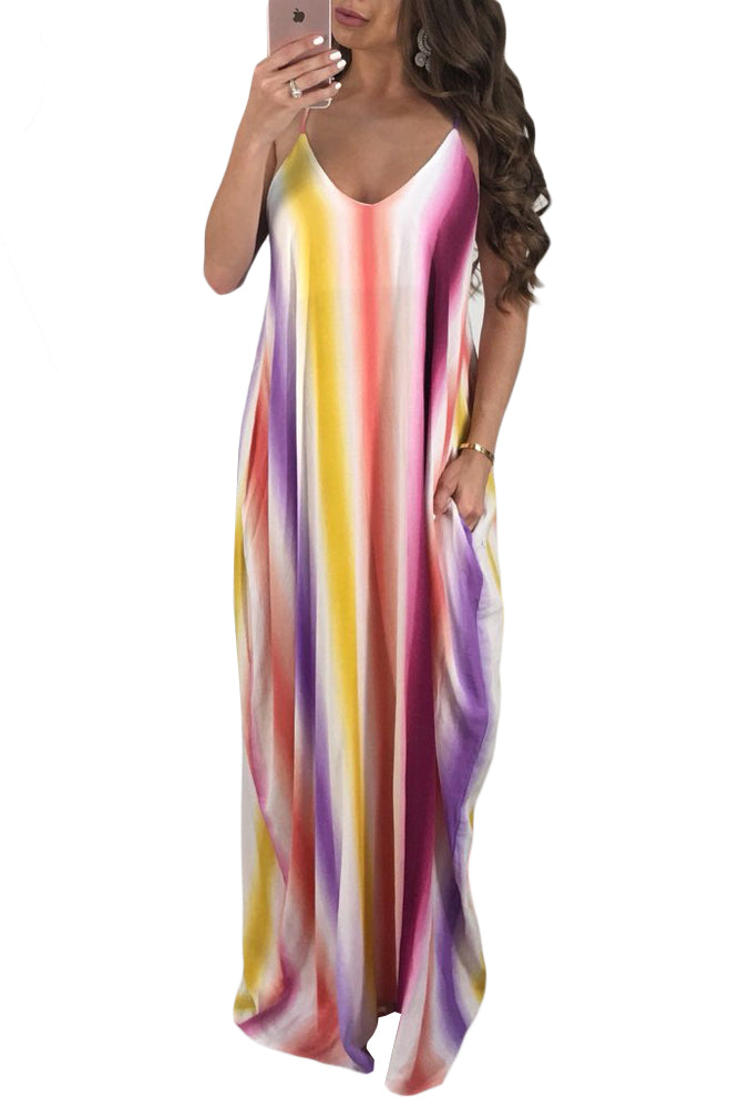 Z| Chicloth Lavender Multicolor Striped V-Neck Boho Maxi Dress-Chicloth