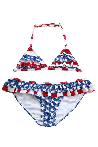 Z| Chicloth Layered Ruffle Trim American Flag Bathing Suit