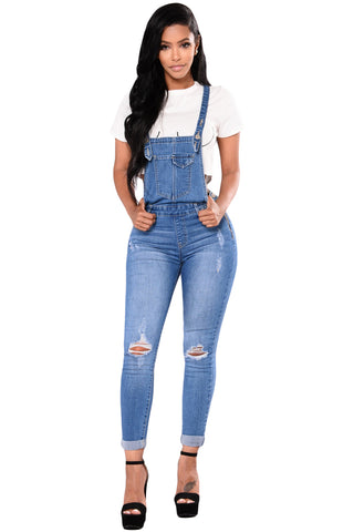 Z| Chicloth Light Blue Denim Laidback Distressed Overalls