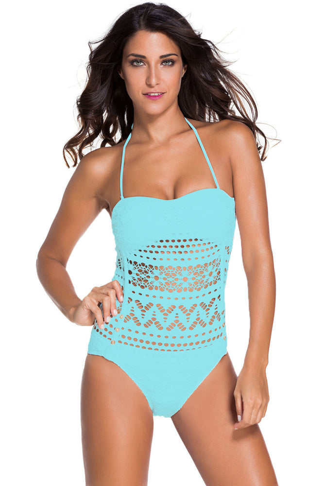 Chicloth Light Blue Lace Halter Teddy Swimsuit-One piece Swimwear-Chicloth
