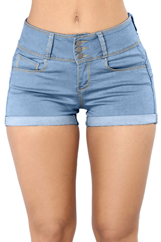 Z| Chicloth Light Blue Mid Rise Triple Button Stretch Denim Shorts
