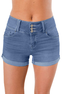 Z| Chicloth Light Blue Triple Button High Waisted Denim Shorts-Jeans-Chicloth