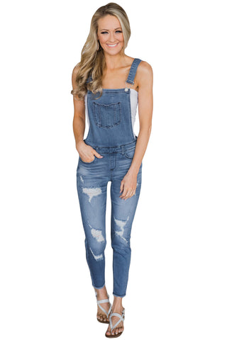 Z| Chicloth Light Blue Wash Distressed Jeans Overalls