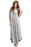 Chicloth Light Gray Sexy Chic Sleeveless Asymmetric Trim Maxi Dress