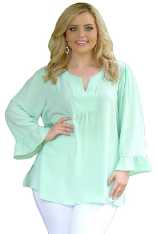 C| Chicloth Light Mint Green Casual Plus Size Top-Chicloth