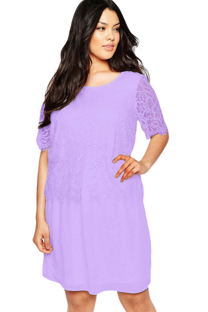 Chicloth Lilac Eyelash Lace Overlay Chiffon Swing Dress-Plus size Dresses-Chicloth