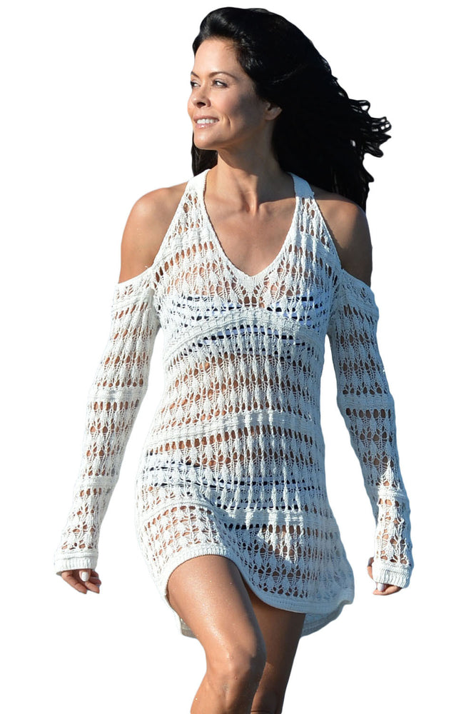 Chicloth Long Sleeves Cut out Shoulder Crochet Beachwear-cover up-Chicloth
