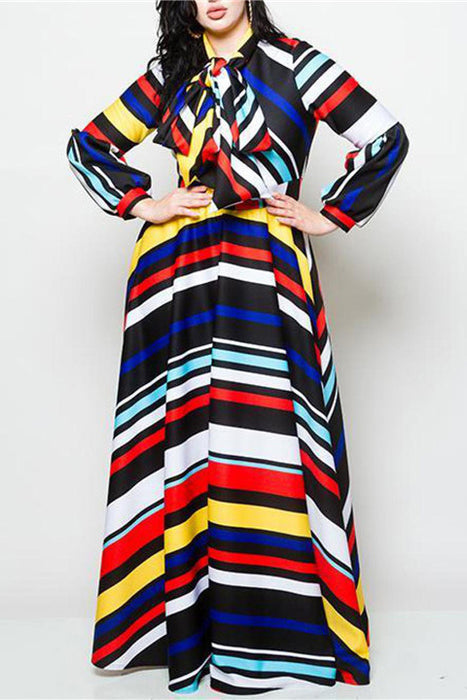 A| Chicloth Plus Size Striped Maxi Dress With Bow