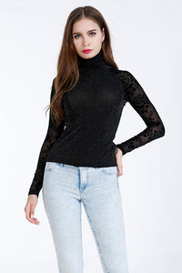 A| Chicloth Black Nylon High Collar Long Sleeves Blouses-Blouses-Chicloth